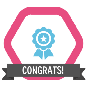 congratulations badge for finishing the English test