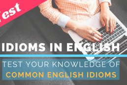 Student taking online English idioms test on her laptop
