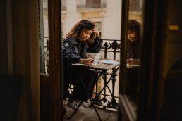 student studying for the ielts exam